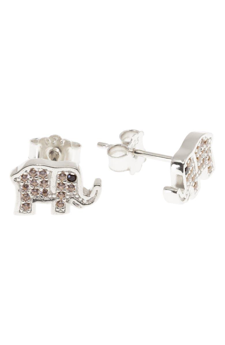 RAGEN JEWELS Mini Elephant Stud Earrings, Main, color, SILVER