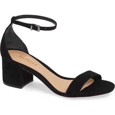 Schutz Chimes Ankle Strap Sandal, Black