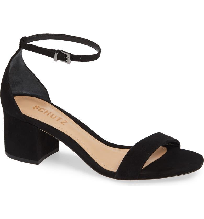 SCHUTZ Chimes Ankle Strap Sandal, Main, color, BLACK LEATHER