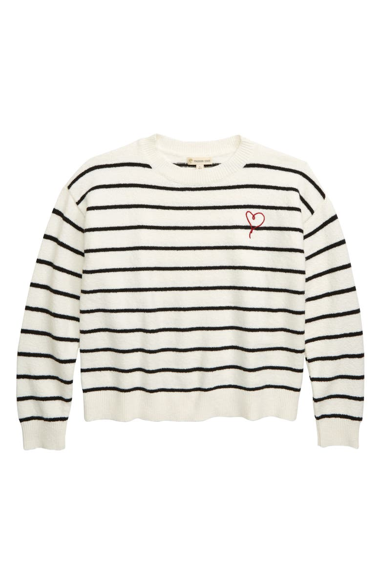 TUCKER + TATE Between the Lines Stripe Sweater, Main, color, IVORY EGRET- BLACK STRIPE