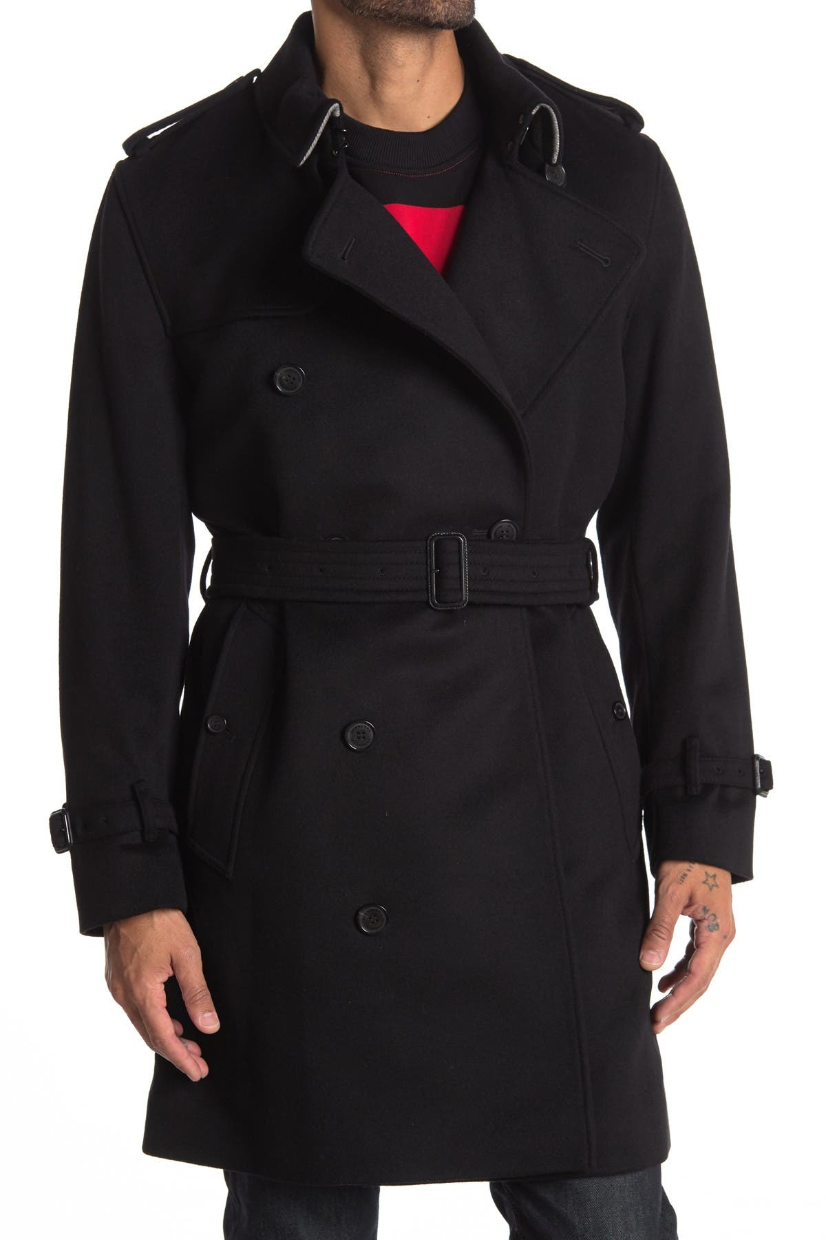 Image of Burberry Kensington Double Breasted Belted Coat