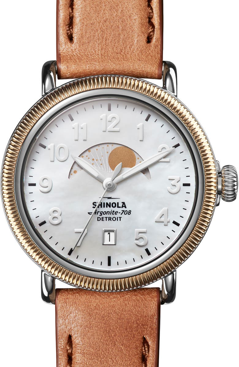 SHINOLA The Runwell Moon Phase Leather Strap Watch, 38mm, Main, color, BOURBON/ WHITE MOP/ GOLD