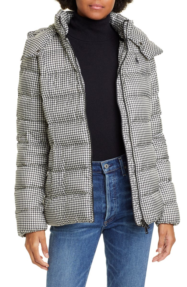 POLO RALPH LAUREN Water Repellent Hooded 750 Fill Power Down Jacket, Main, color, HOUNDSTOOTH BLACK/ WHITE