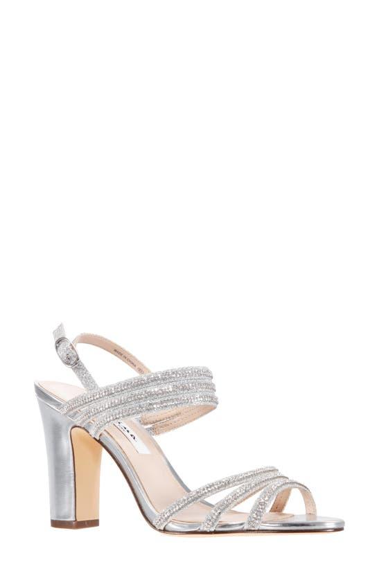 Nina Shandra High Block Heel Sandals Women's Shoes In Silver