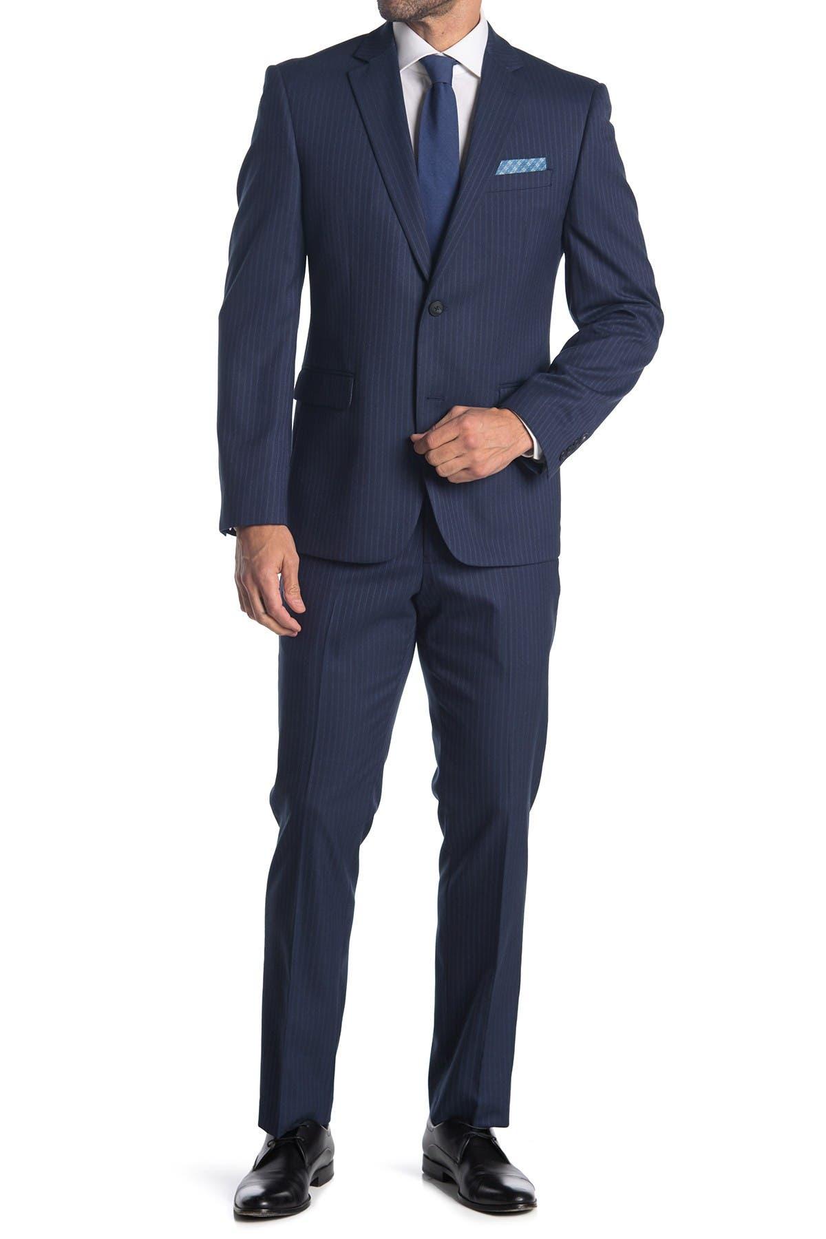Image of Perry Ellis Dark Blue Stripe Two Button Notch Lapel Slim Fit Suit