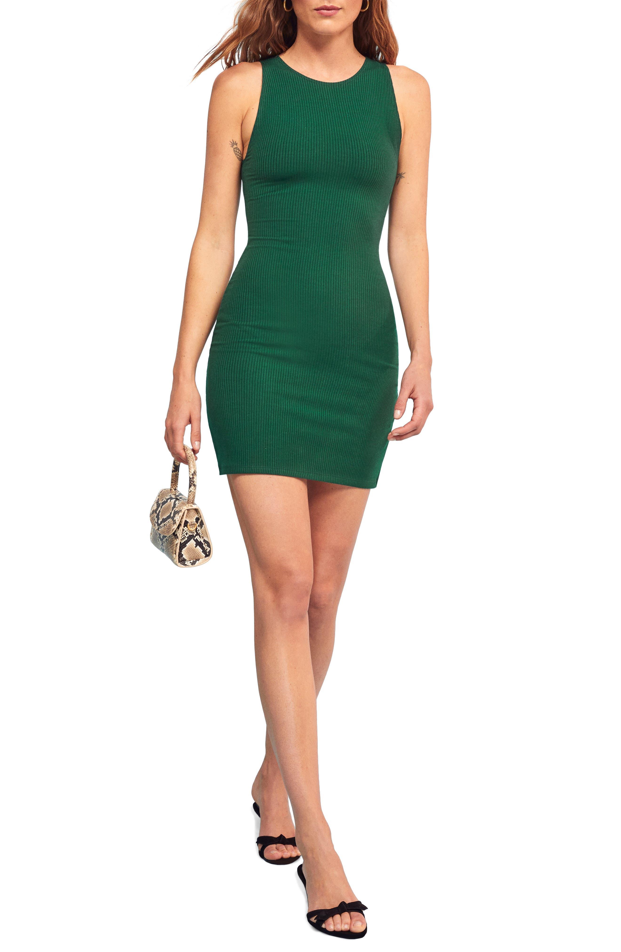 Reformation Kris Sleeveless Body-Con Dress, Green