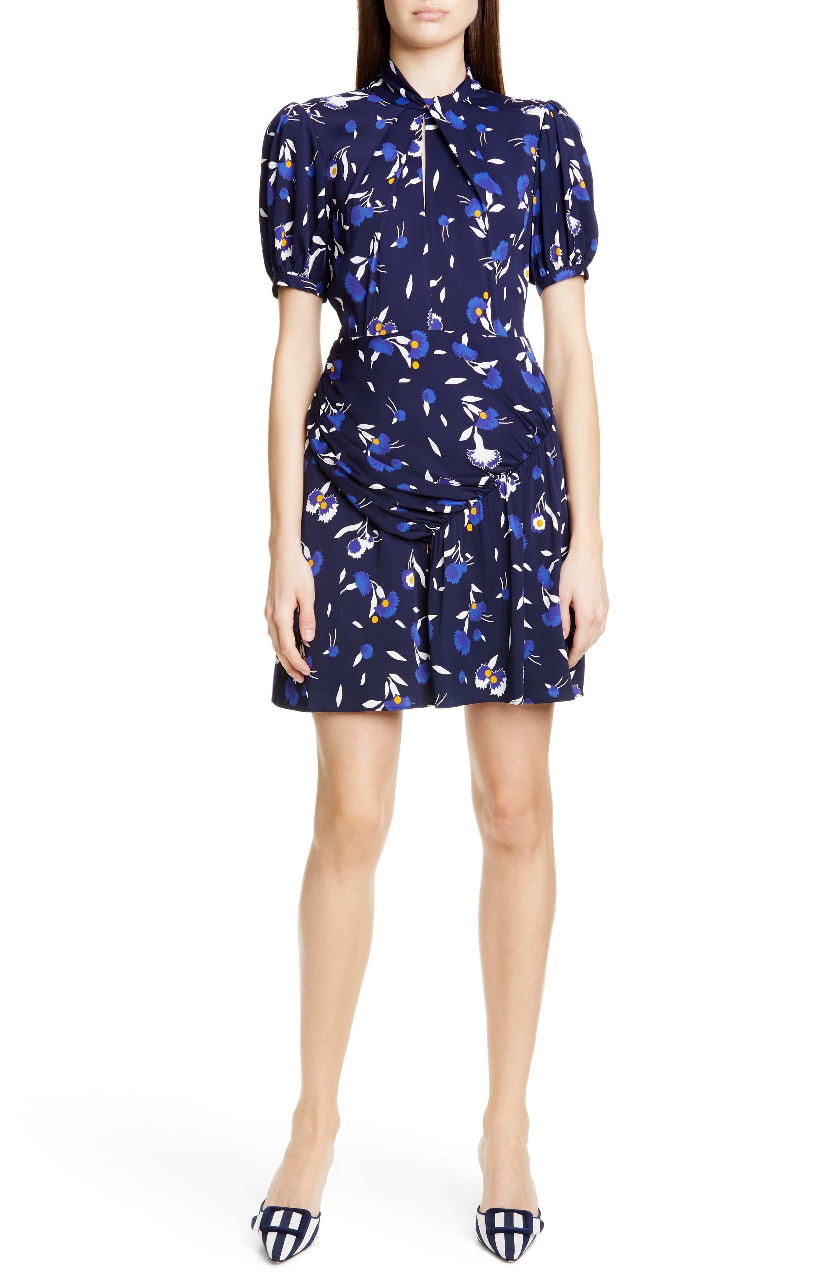 Self-Portrait Floral Puff Sleeve Jersey Crepe Minidress, Blue