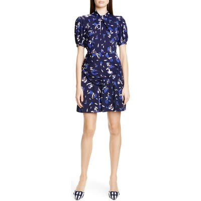 Self-Portrait Floral Puff Sleeve Jersey Crepe Minidress, Blue