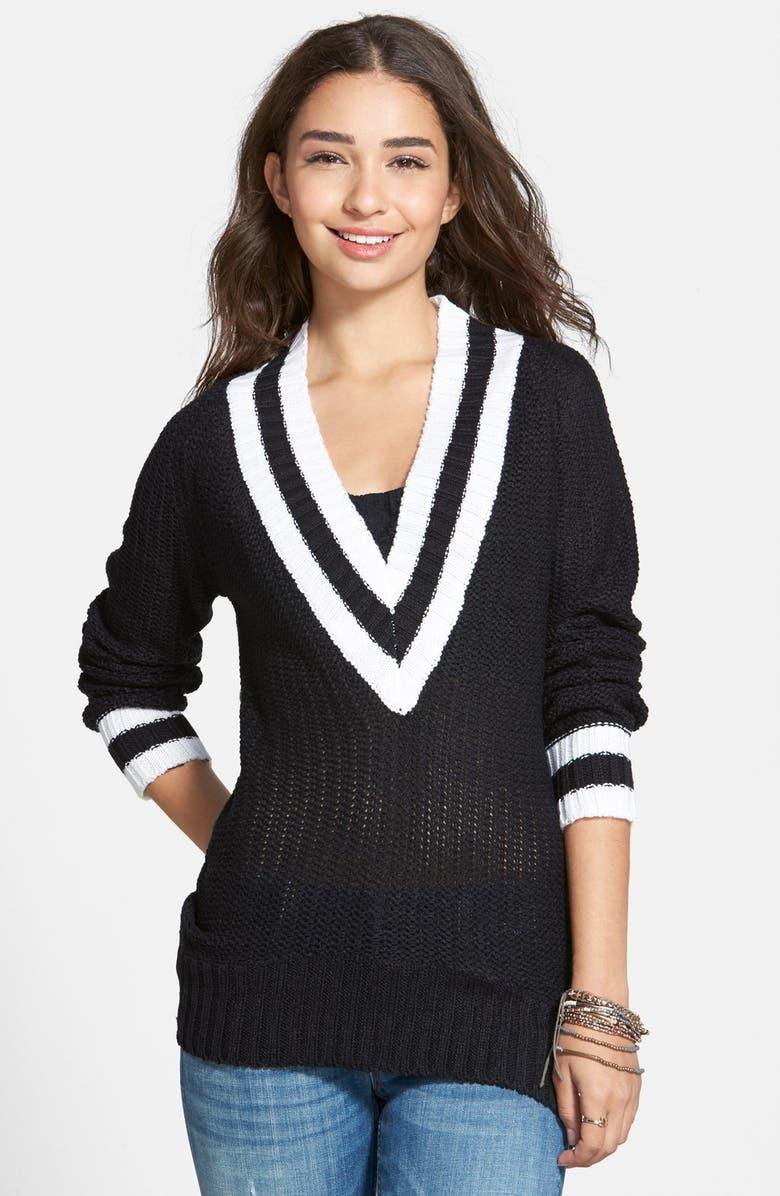 DEREK HEART Deep V-Neck Sweater, Main, color, 001