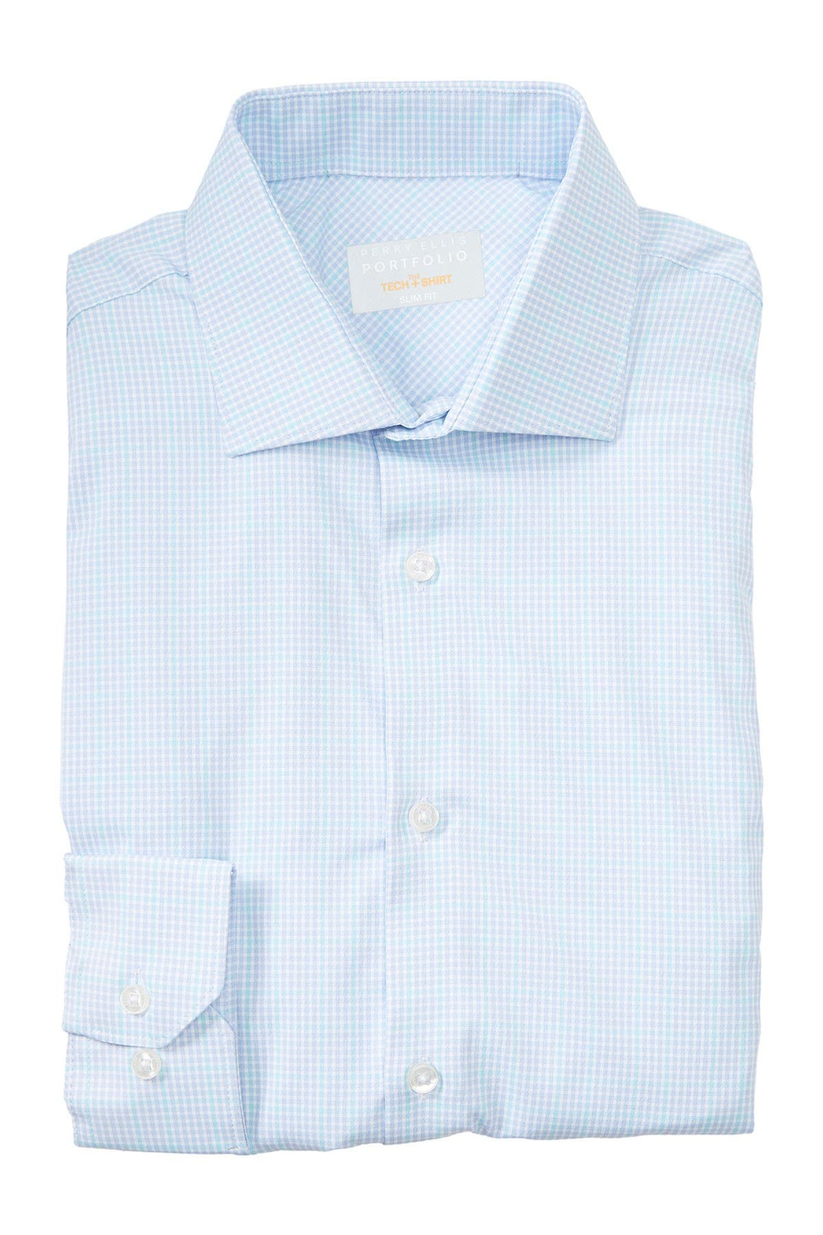 Image of Perry Ellis Check Print Long Sleeve Slim Fit Shirt