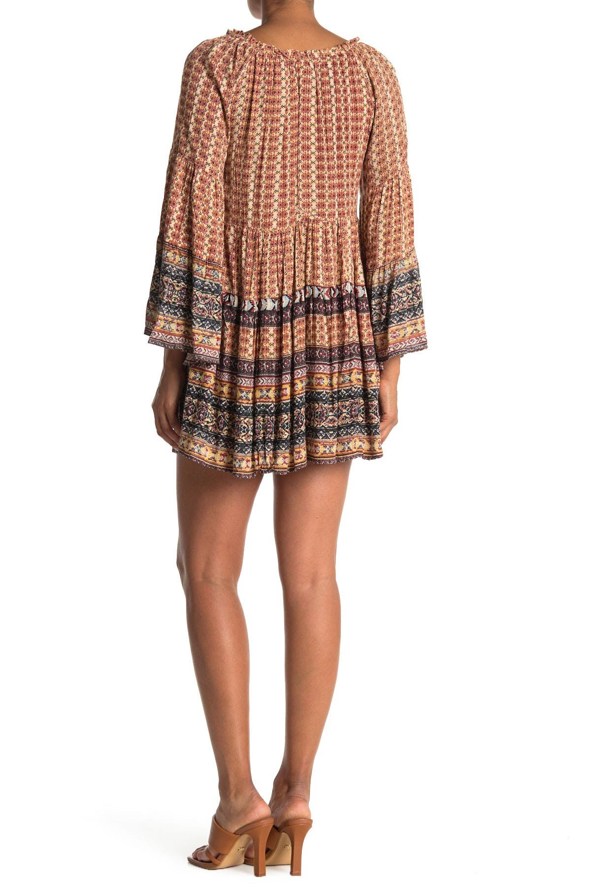 Image of Angie Long Bell Sleeve Patterned Tiered Dress
