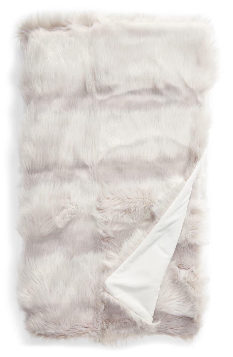 RACHEL PARCELL Stripe Faux Fur Throw Blanket, Main, color, GREY FOG