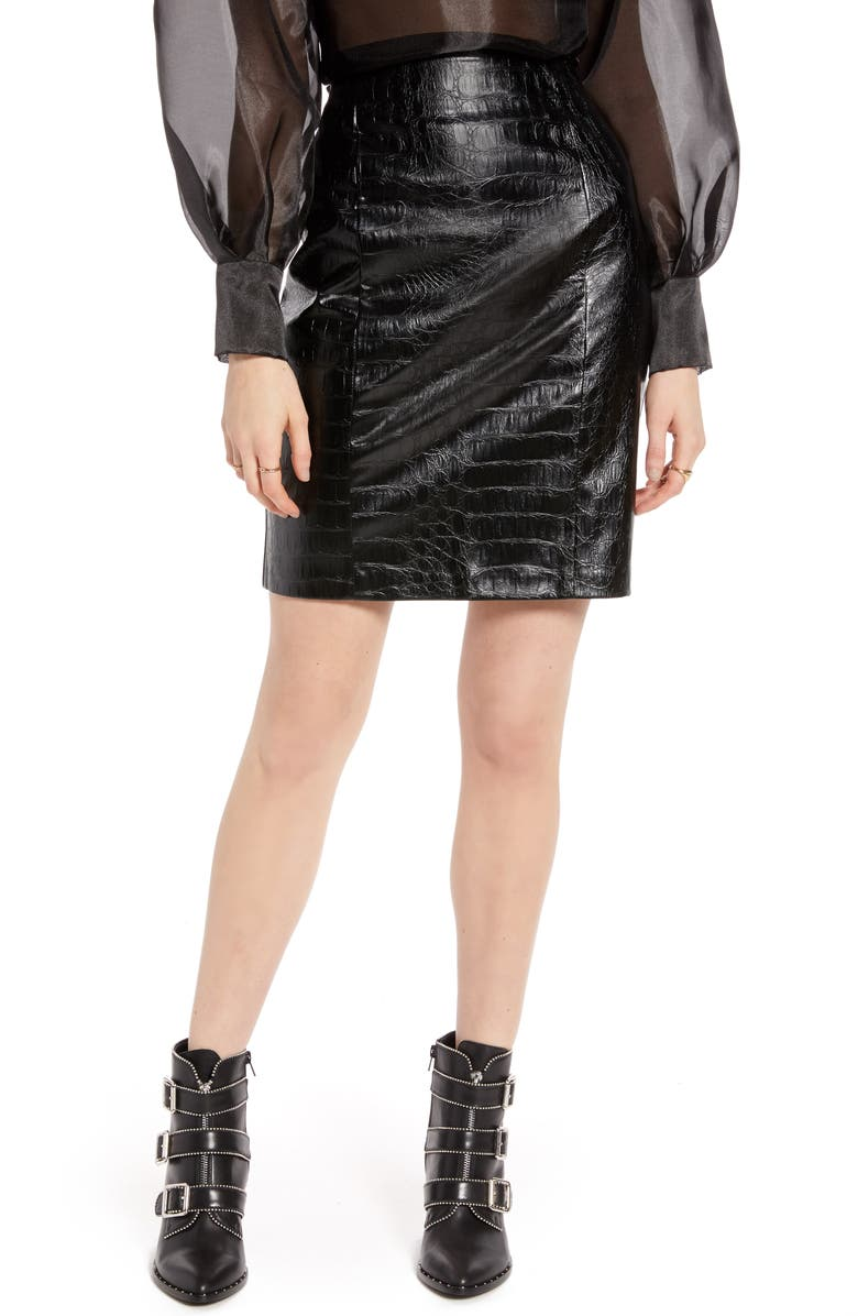 NA-KD Croc Embossed Faux Leather Miniskirt, Main, color, 002
