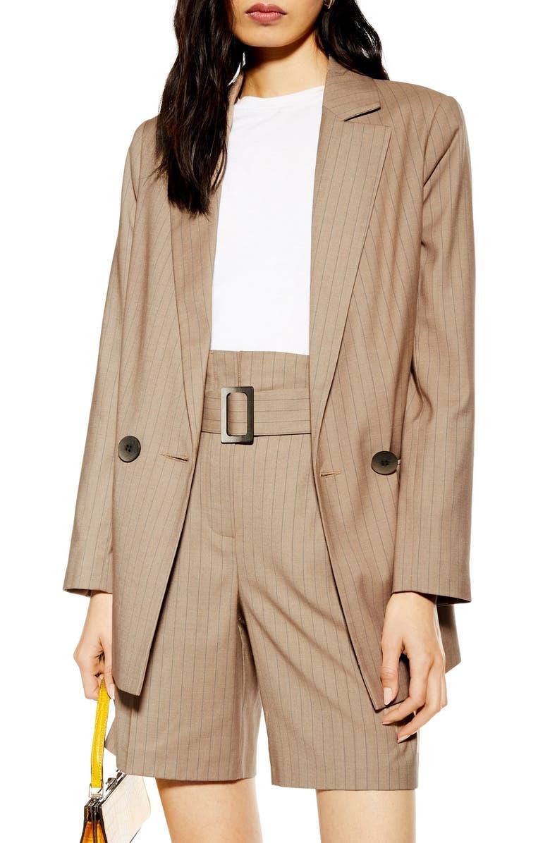 TOPSHOP Pinstripe Blazer, Main, color, CAMEL