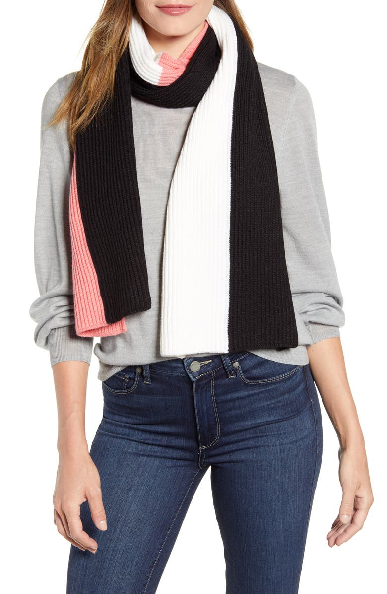 KATE SPADE NEW YORK colorblock scarf, Main, color, BLACK