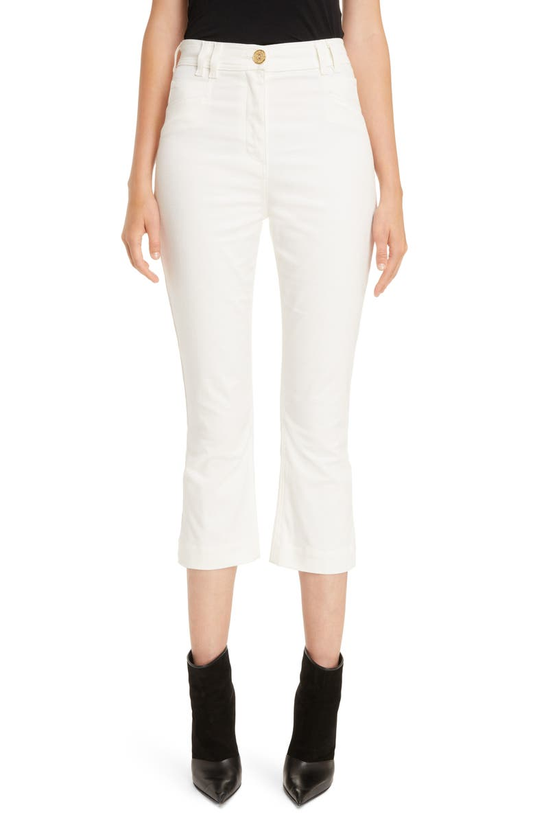 BALMAIN High Waist Skinny Jeans, Main, color, BLANC