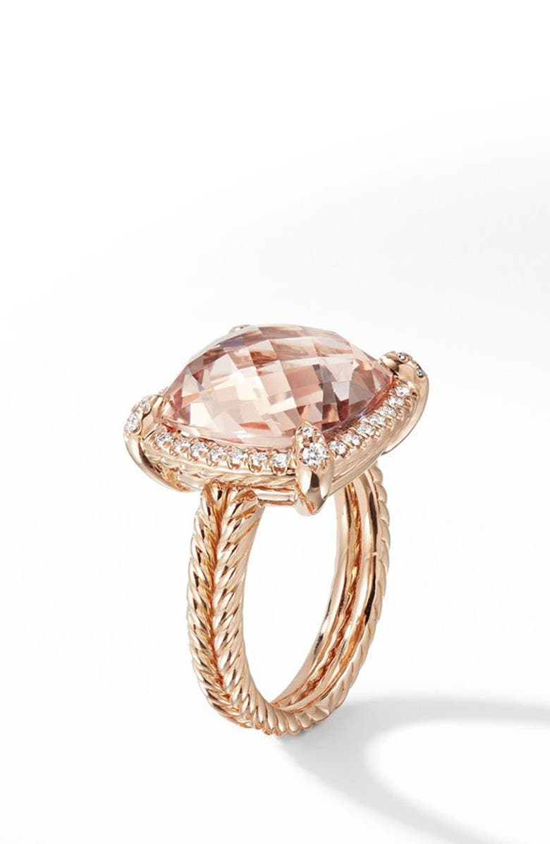 DAVID YURMAN Chatelaine Pavé Bezel Ring in 18K Rose Gold with Morganite, Main, color, ROSE GOLD/ DIAMOND/ MORGANITE