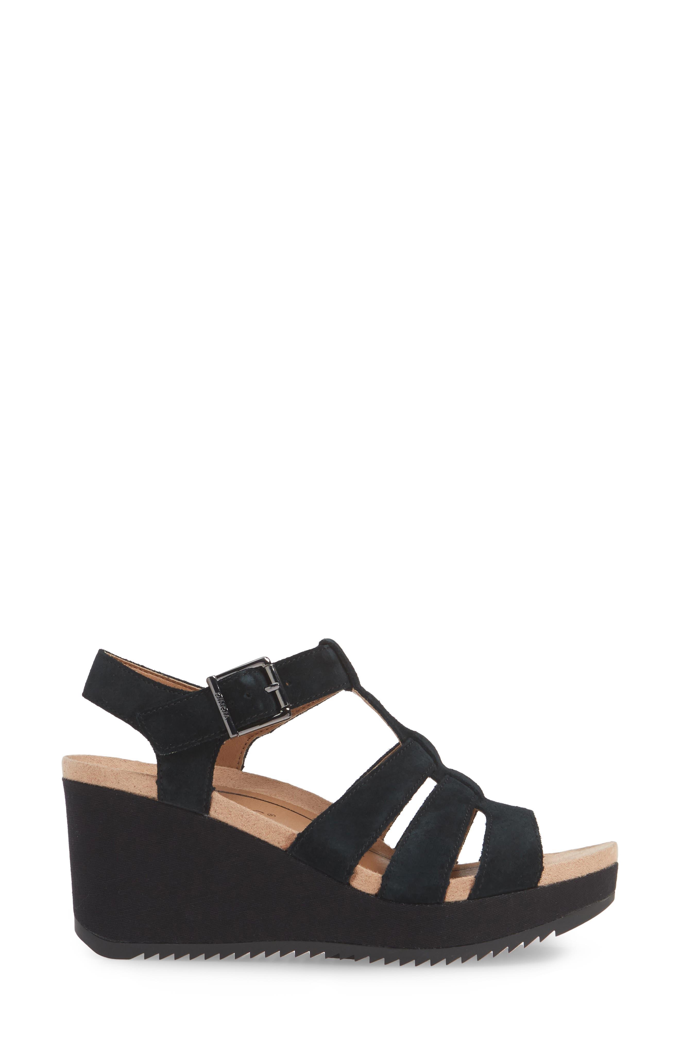 ,                             Tawny Wedge Sandal,                             Alternate thumbnail 3, color,                             BLACK CANVAS