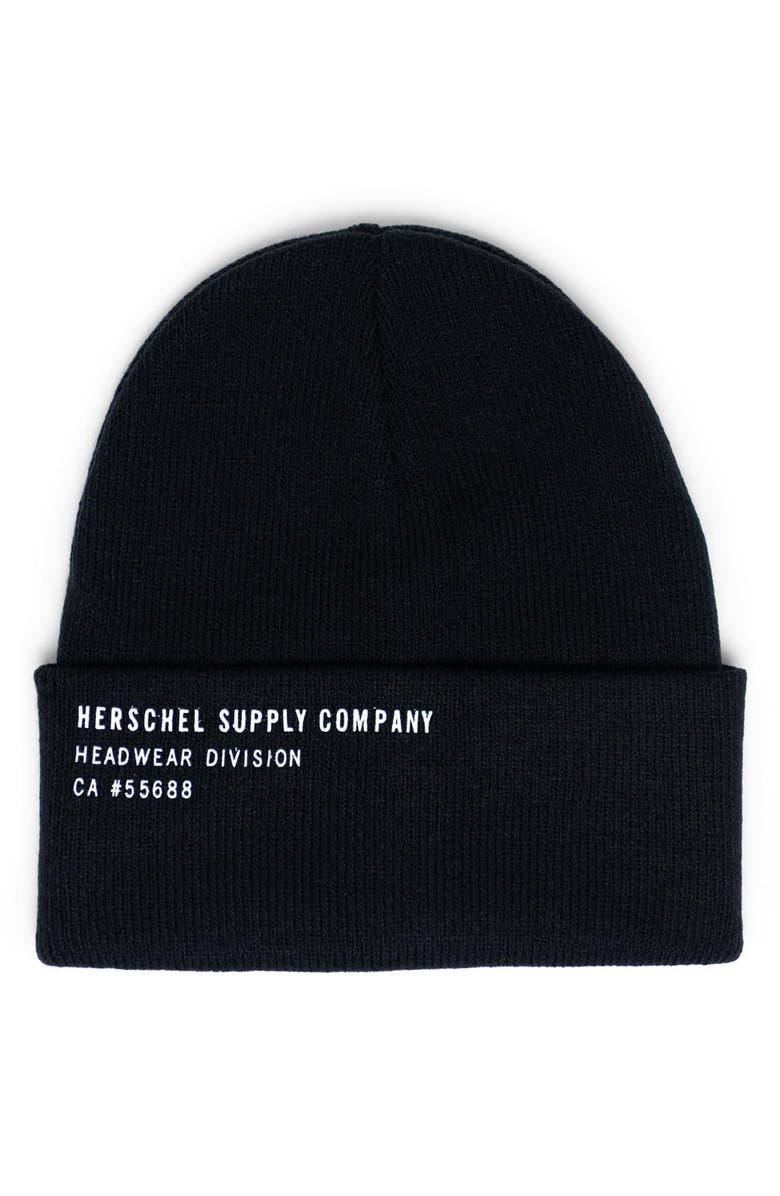HERSCHEL SUPPLY CO. Elmer Print Beanie, Main, color, BLACK