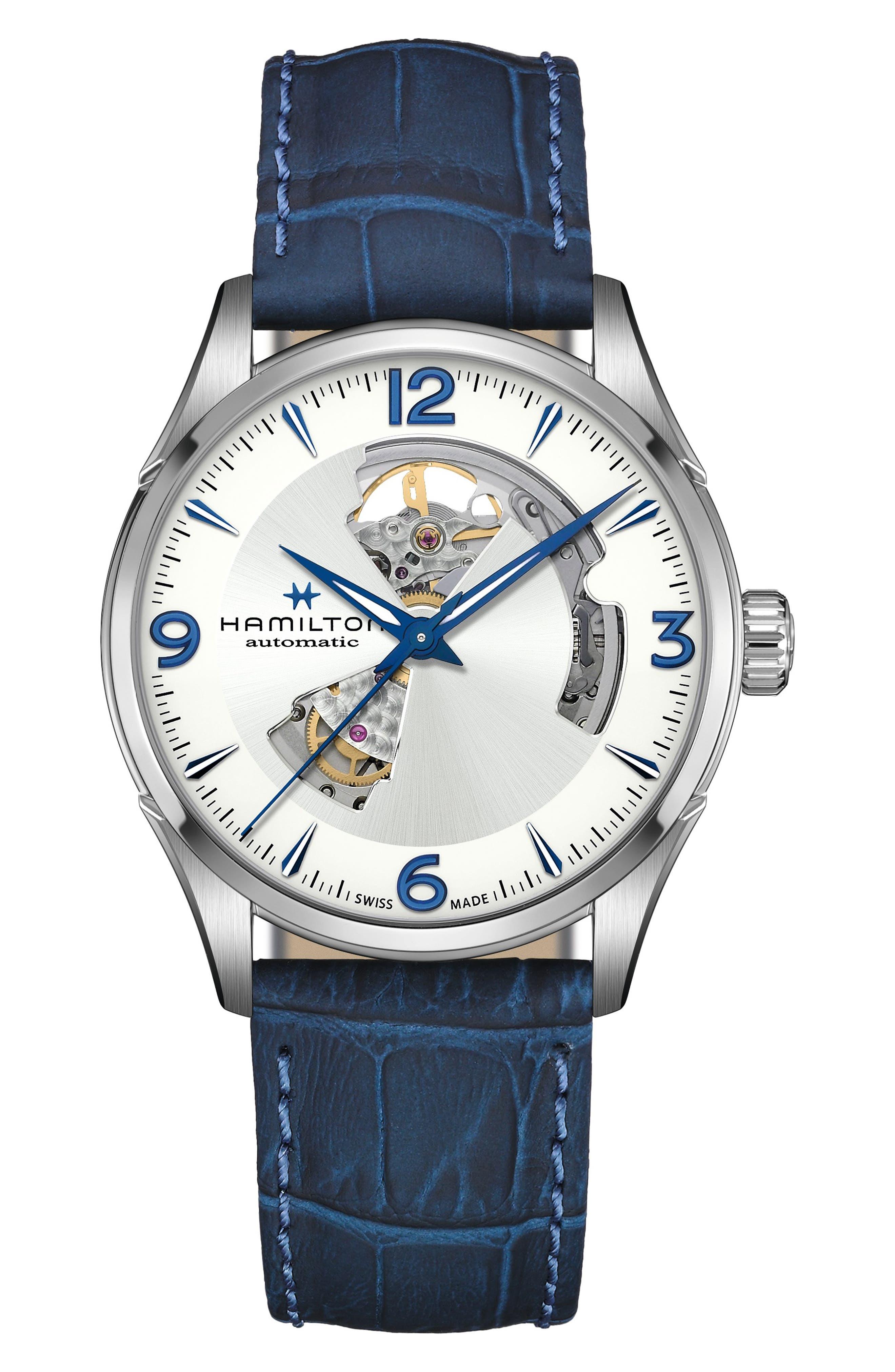 Jazzmaster Skeleton Leather Strap Watch
