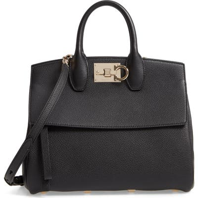 Salvatore Ferragamo Small The Studio Leather Top Handle Bag - Black