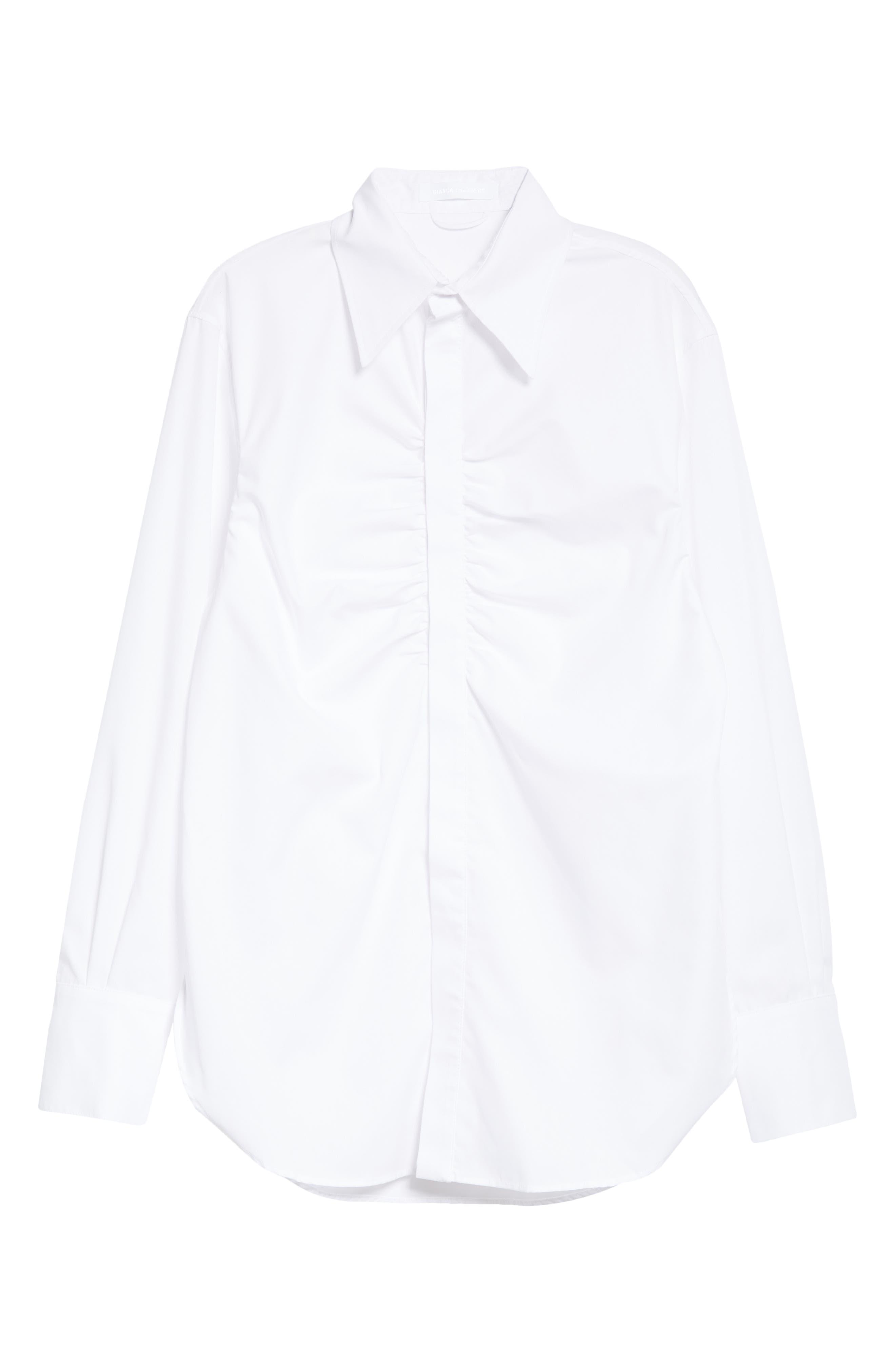Tense Ruched Button-Up Shirt