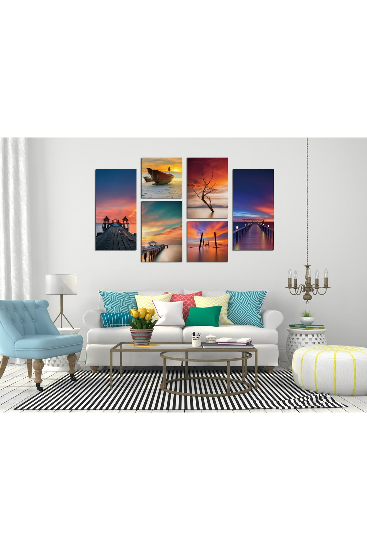 """Image of Chic Home Bedding Ocean View 6-Piece Wall Art - 40""""x64"""""""