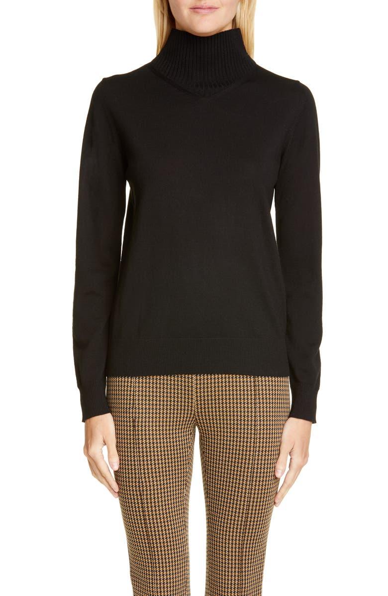 ROSETTA GETTY Merino Wool Turtleneck Sweater, Main, color, BLACK
