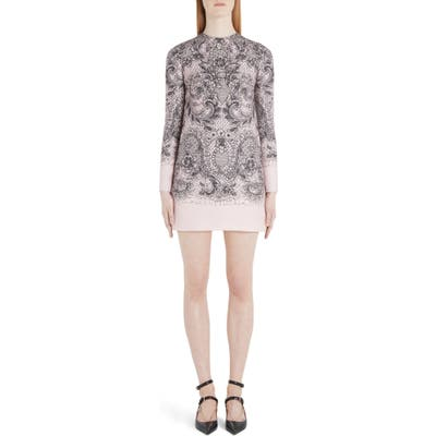Valentino Lace Print Long Sleeve Crepe Minidress, US / 44 IT - Pink