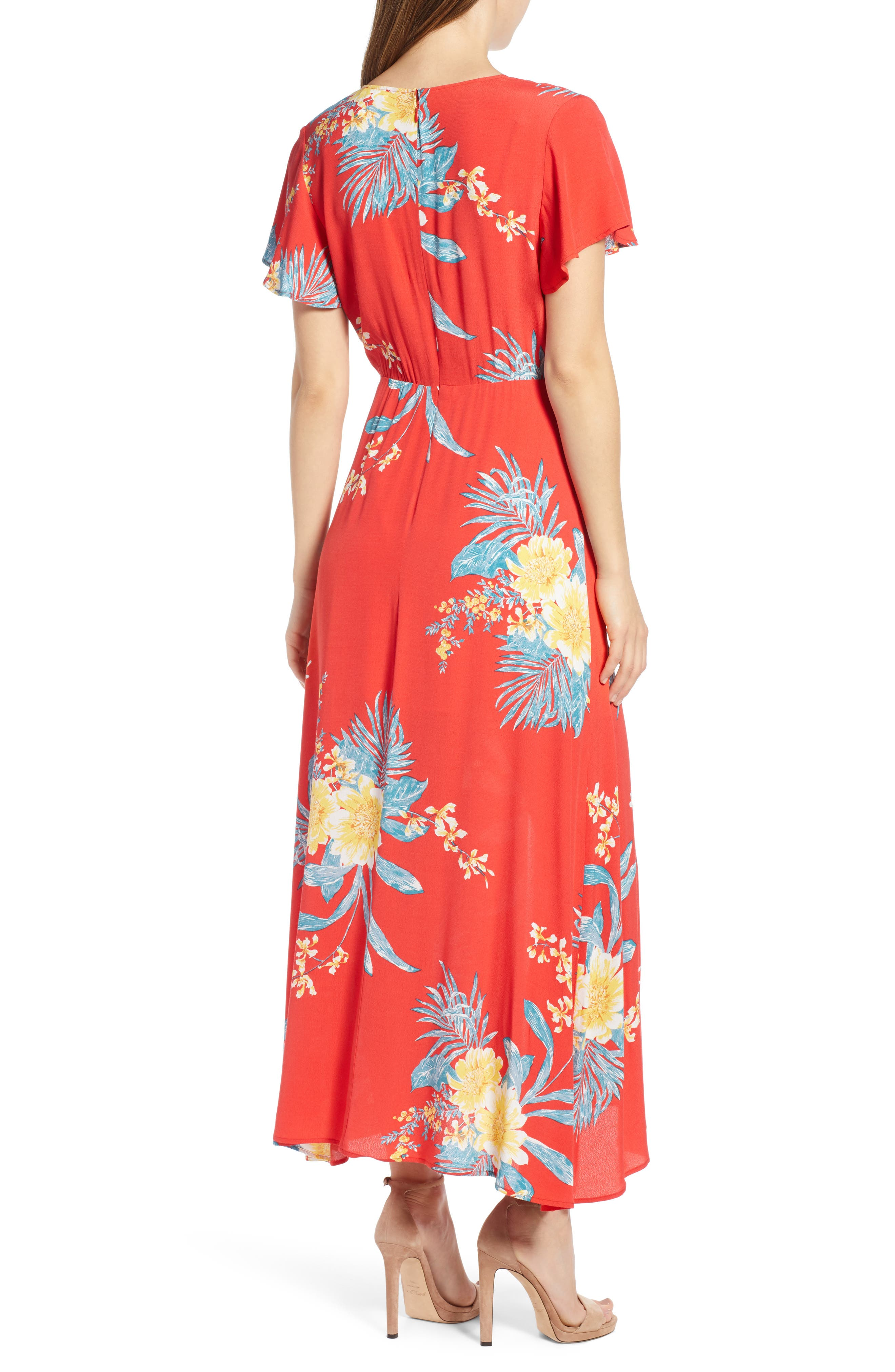 ,                             Surplice Maxi Dress,                             Alternate thumbnail 2, color,                             RED SCARLET ILLUSTRATED FLORAL