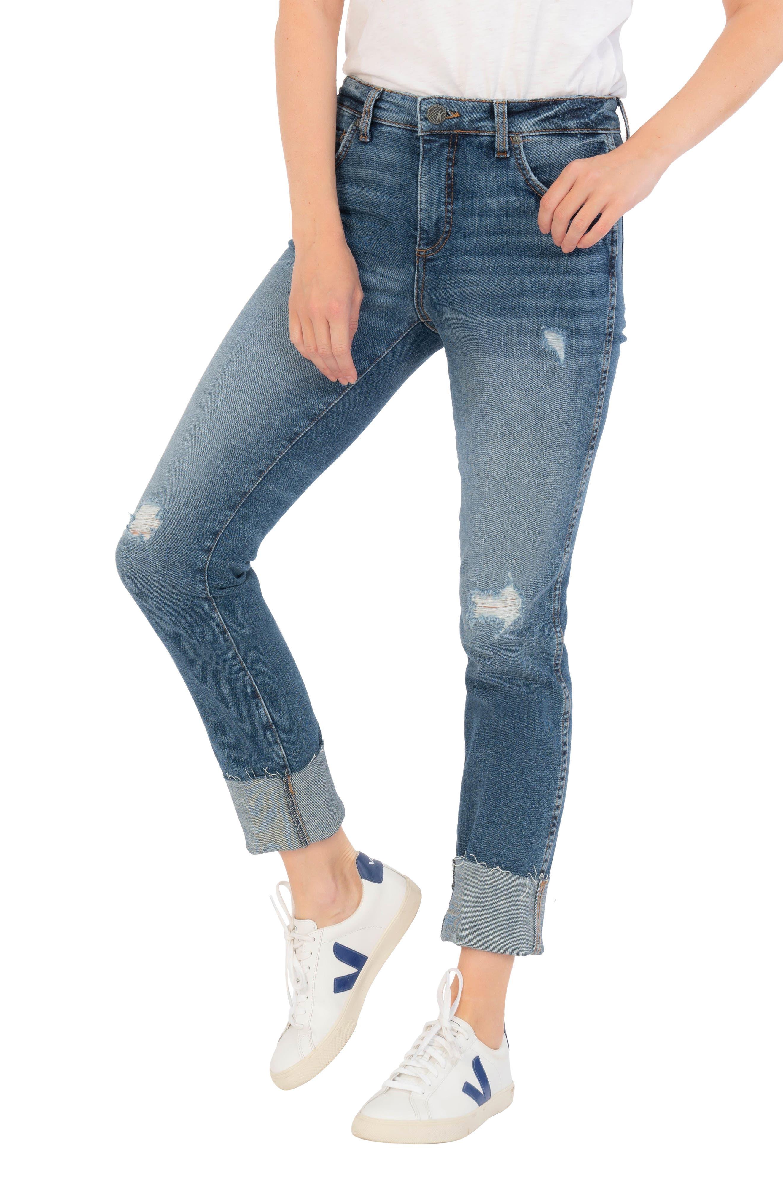 Catherine Ab Fab Ripped High Waist Boyfriend Jeans