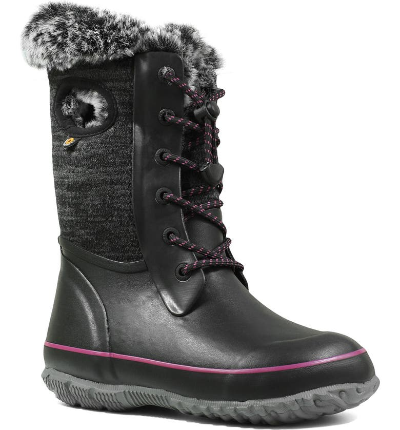 BOGS Arcata Knit Insulated Faux Fur Lined Waterproof Boot, Main, color, BLACK MULTI