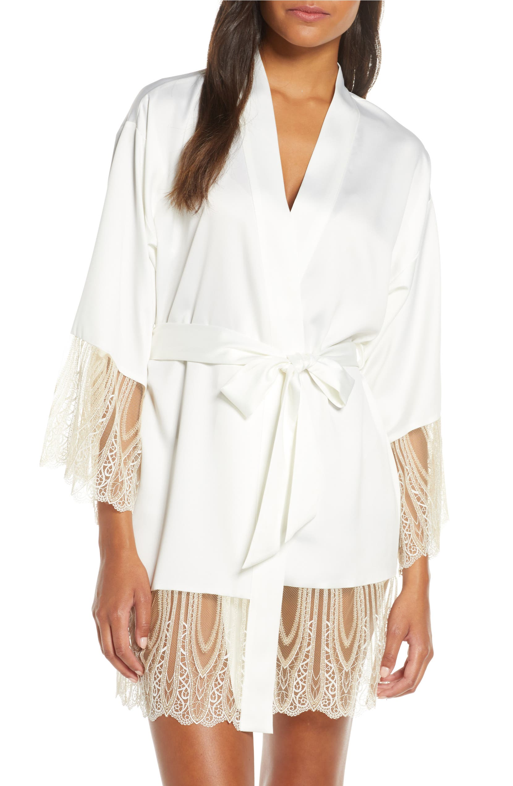 Aurora Satin & Lace Short Robe, Main, color, IVORY