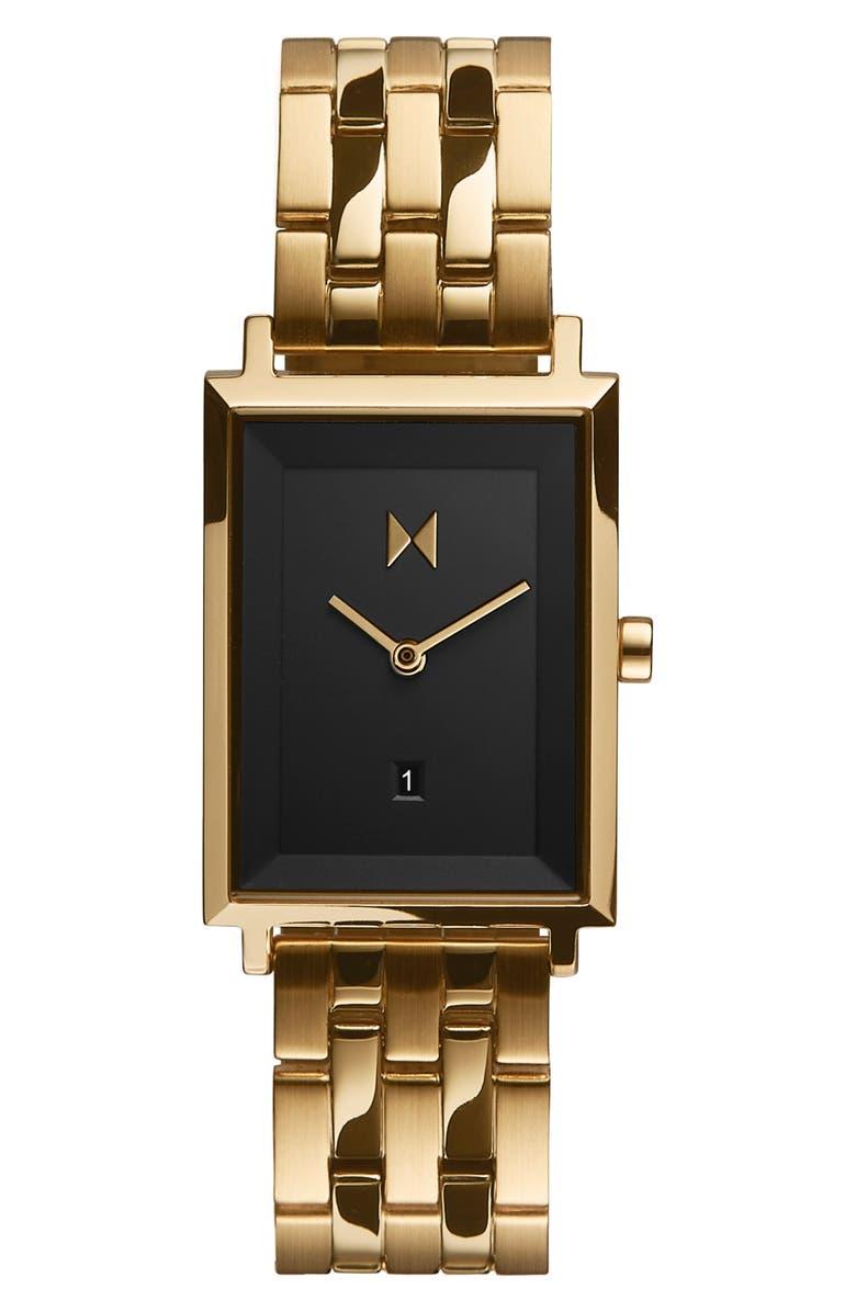 MVMT Signature Square Bracelet Watch, 24mm, Main, color, GOLD/ BLACK/ GOLD