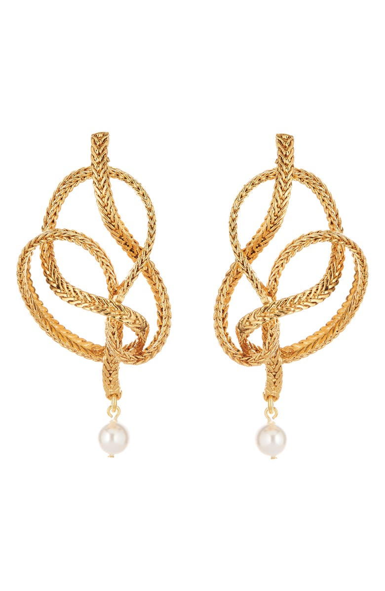 OSCAR DE LA RENTA Braided Chain Imitation Pearl Drop Earrings, Main, color, GOLD