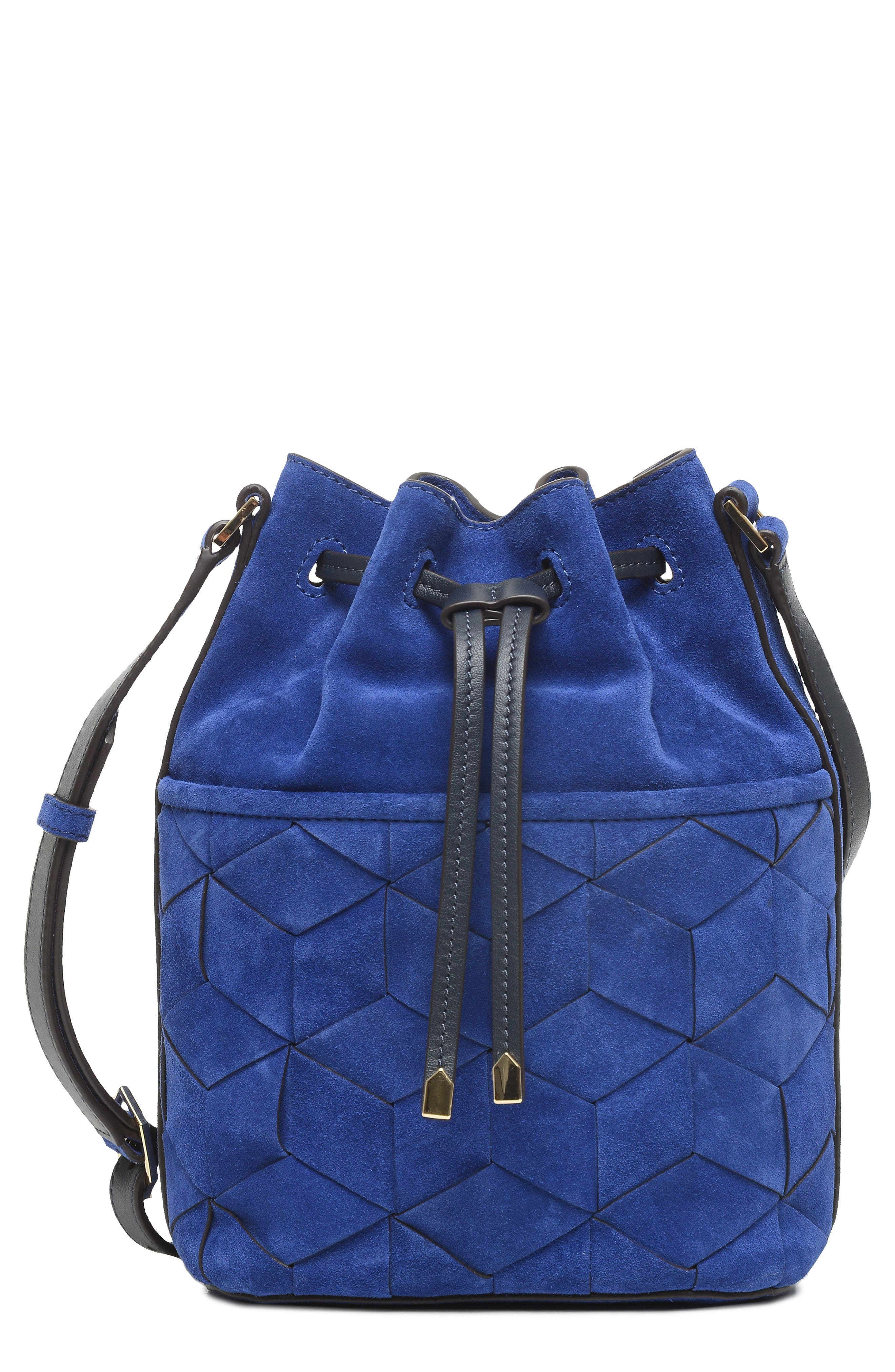 Welden Bags Mini Gallivanter Suede Bucket Bag In Royal