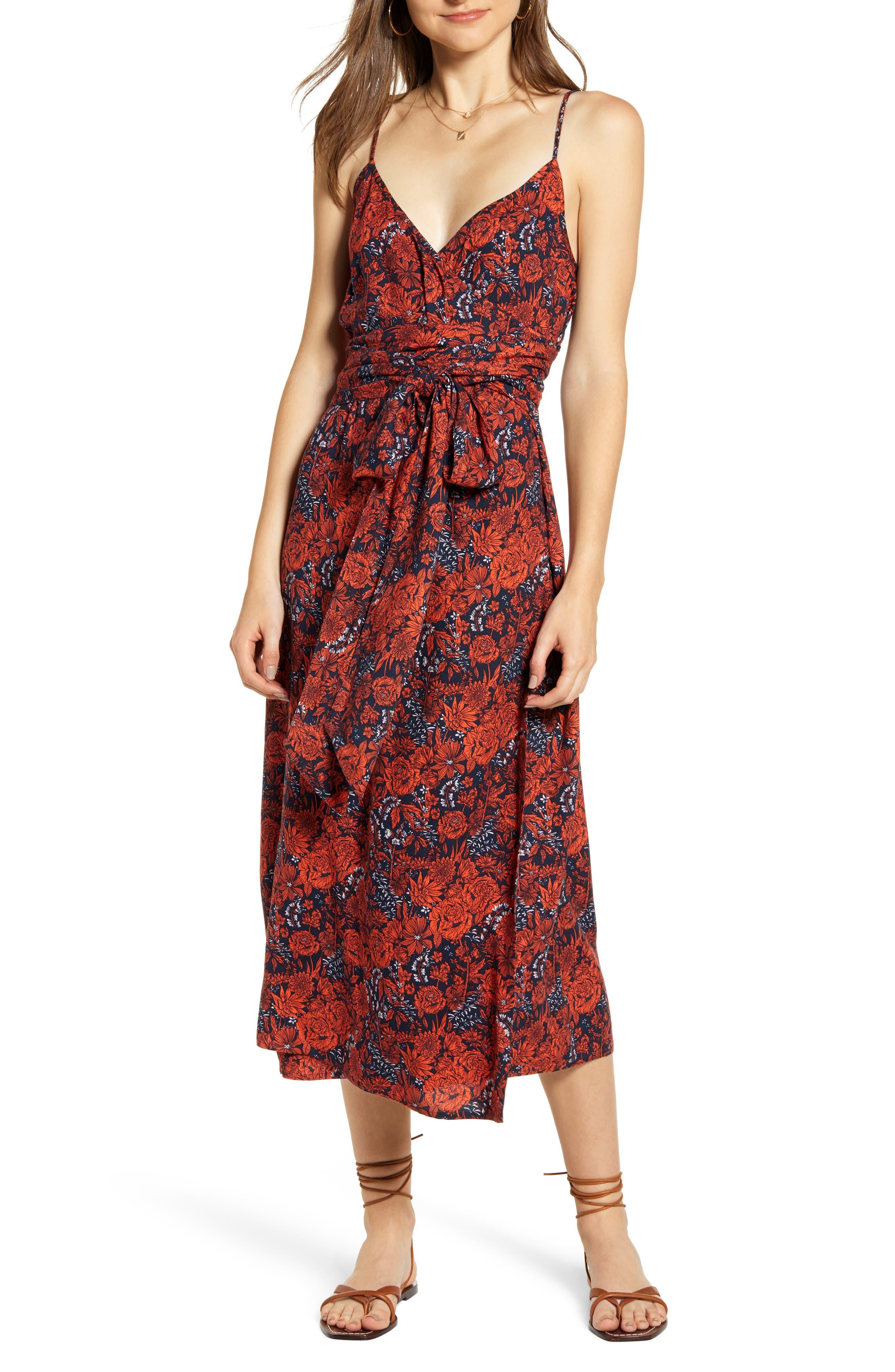 Hinge Floral Sleeveless Wrap Dress, Blue