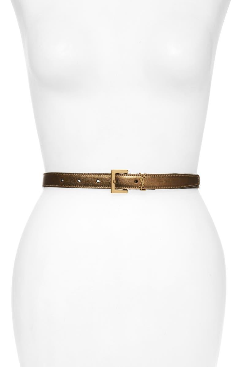 SAINT LAURENT YSL Logo Metallic Leather Belt, Main, color, ANTIC GOLD