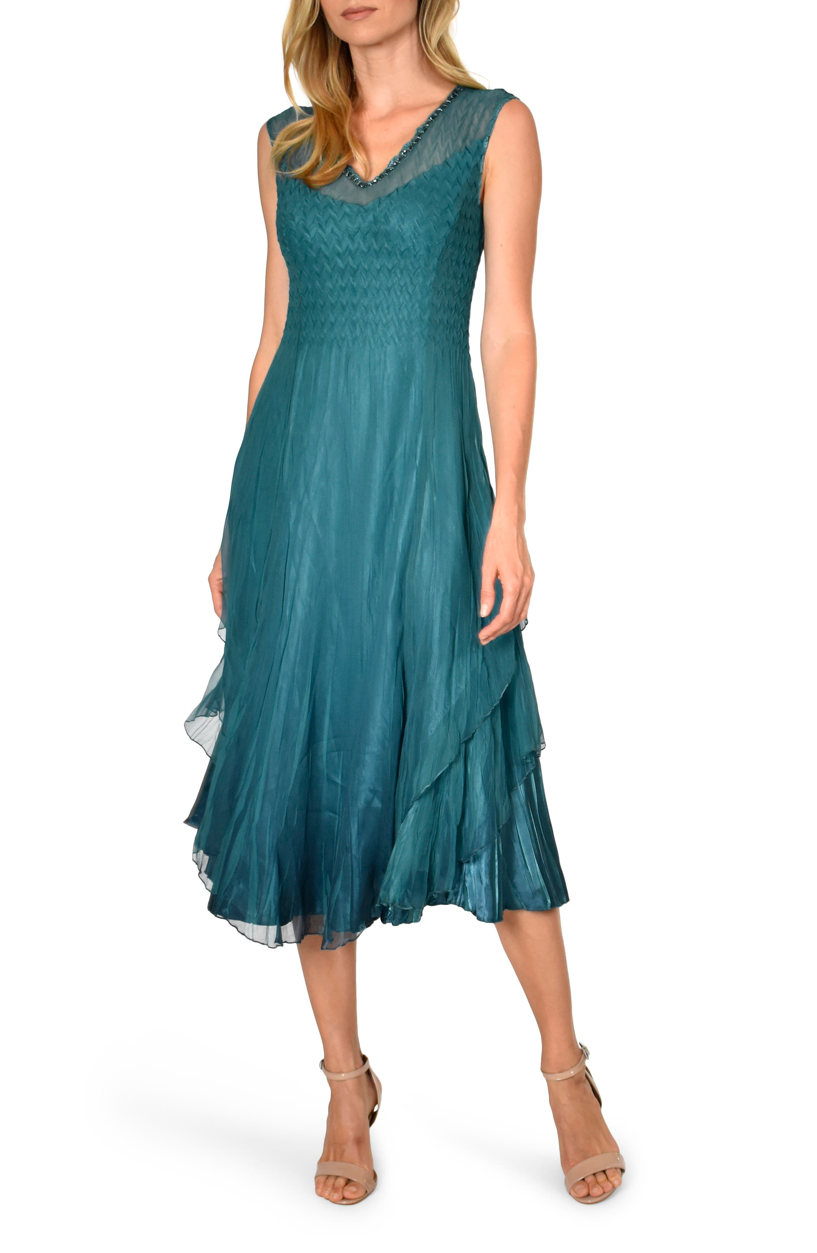 1920s Style Dresses, 20s Dresses Womens Komarov Tiered Hem Midi Dress $378.00 AT vintagedancer.com