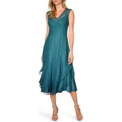 Komarov Tiered Hem Midi Dress, Blue/green