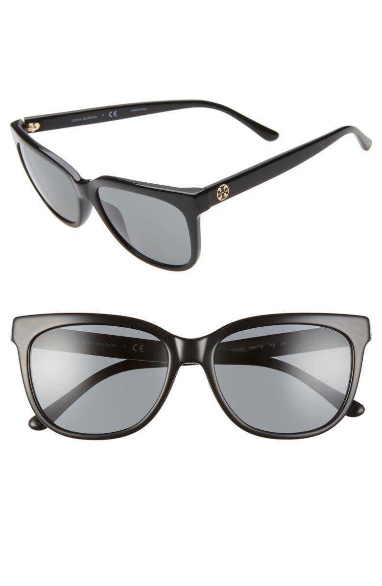 TORY BURCH 55mm Cat Eye Sunglasses, Main, color, 001