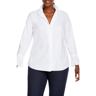 Plus Size Foxcroft Alba In Solid Stretch Shirt, White