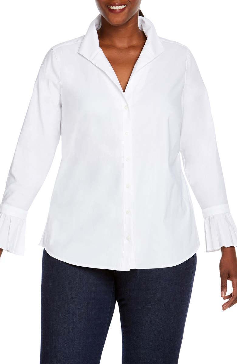 FOXCROFT Alba in Solid Stretch Shirt, Main, color, WHITE