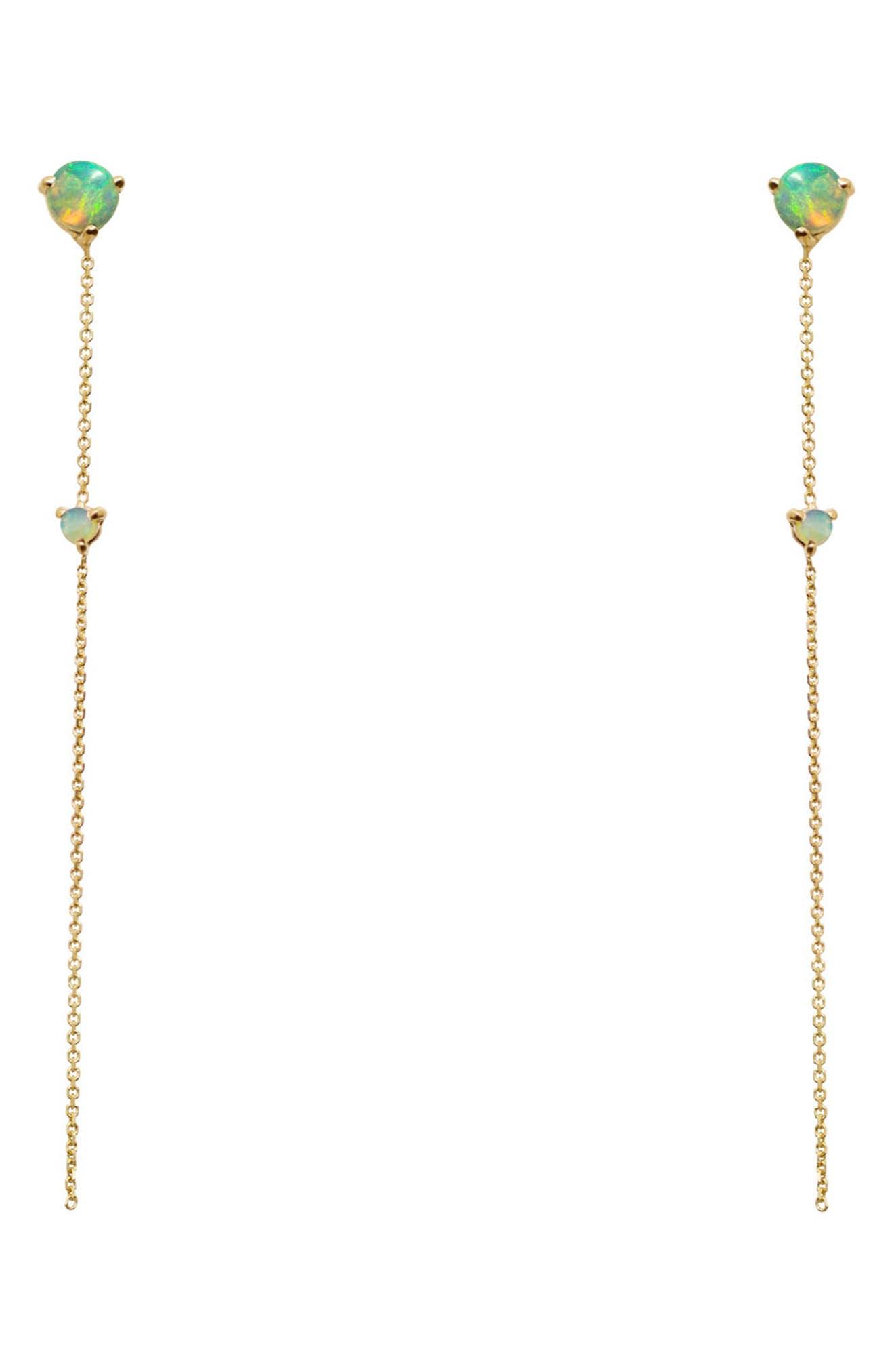 Opal Two-Stone Drop Earrings, Main, color, 14KT GOLD