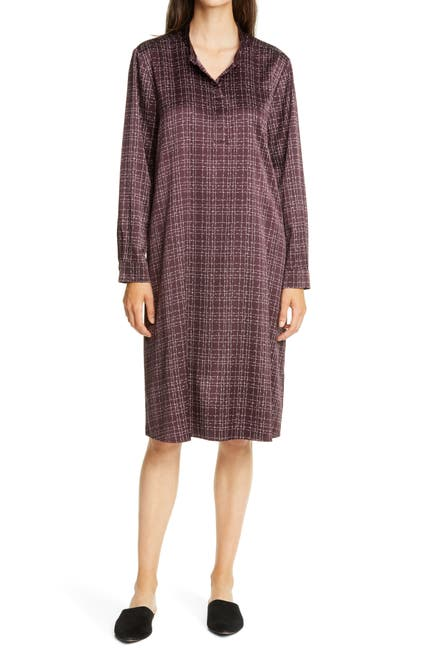 Image of Eileen Fisher Band Collar Stretch Silk Dress