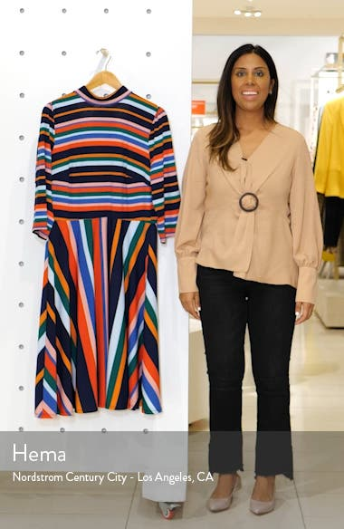 Multicolor Stripe Fit & Flare Dress, sales video thumbnail