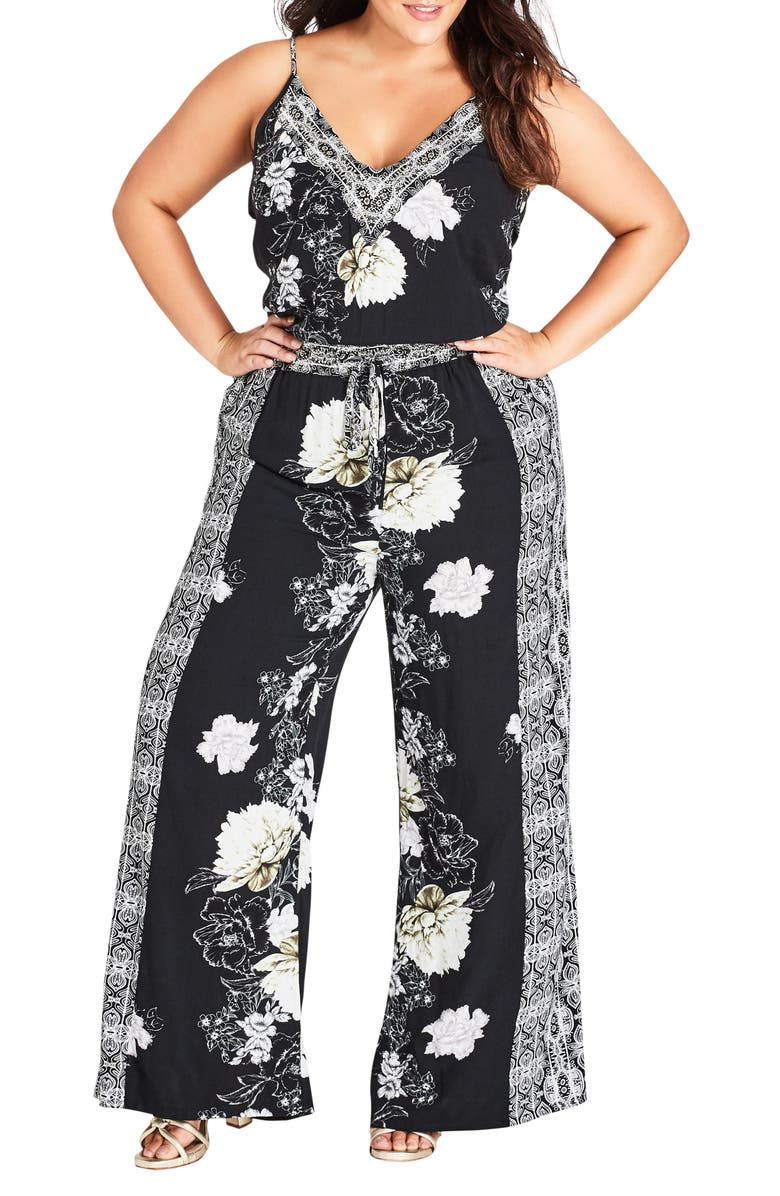 CITY CHIC Jewel Jumpsuit, Main, color, BLACK