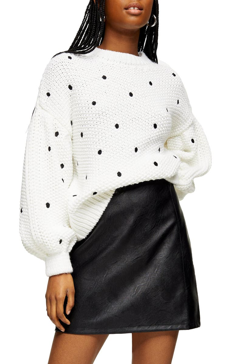 TOPSHOP Spot Embroidered Sweater, Main, color, IVORY MULTI