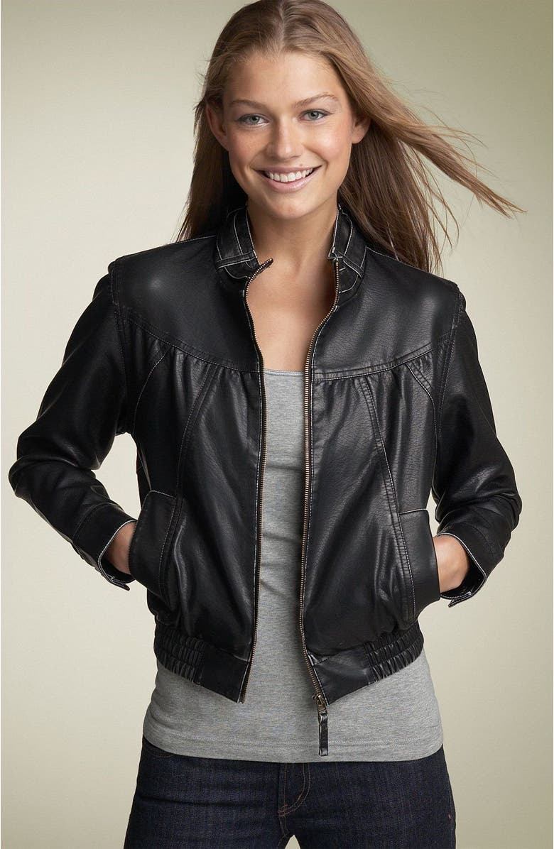 d2eb73105 Hot Kiss Faux Leather Bomber Jacket (Juniors) | Nordstrom