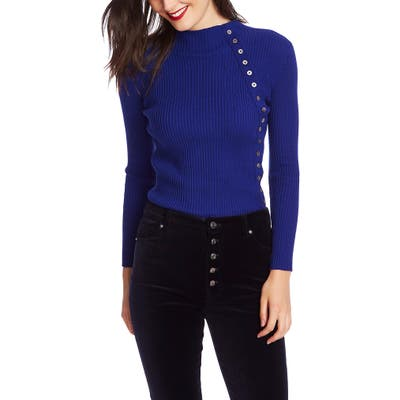 Court & Rowe Button Detail Ribbed Sweater, Blue